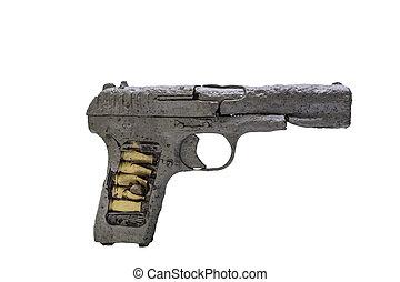 Soviet handgun TT Tula, Tokarev isolated on the white...