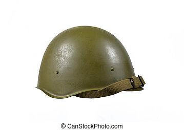 soviet helmet on the white table