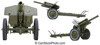 Soviet howitzer in three perspectives isolated on white.
