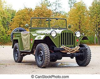 Soviet military automobile Gaz 67 from the WW2. - MARIUPOL,...