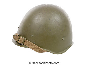 Soviet military helmet isolated on a white background