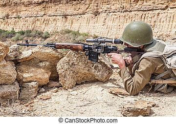 Soviet paratrooper in Afghanistan during the Soviet Afghan...