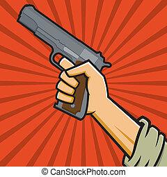 Soviet Pistol - Vector Illustration of a fist holding a...