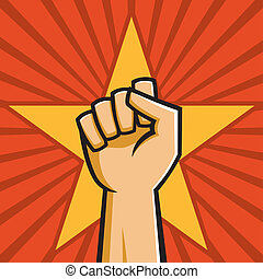 Vector Illustration of a fist held high in the style of Russian Constructivist propaganda posters.