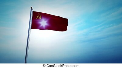 Soviet Russian flag a symbol of the USSR and communist history. An old sign of socialism and the Soviet Union - 4k