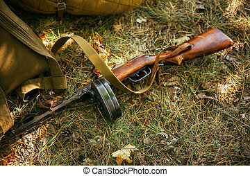Soviet russian military ammunition - submachine gun of World War