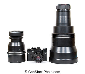 Soviet (Russian) SLR camera and lens on a white background