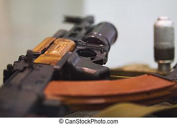 Soviet Russian weapon - Kalashnikov rifle with under barrel...