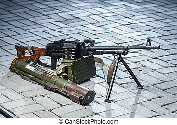PKM and RPG-18 on the ground - soviet russian weapon: PKM...