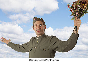Soviet soldier with a bunch of flowers