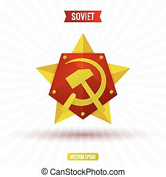 Soviet star hammer and sickle, volume, vector illustration
