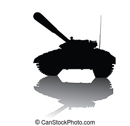 Soviet tank    - T-72 tank silhouette with reflection