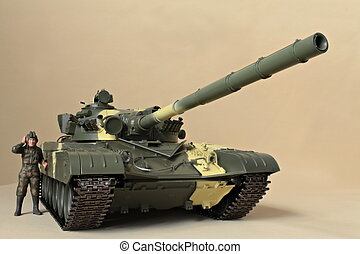 Soviet tank T-72 front view - figure commander It stands at...
