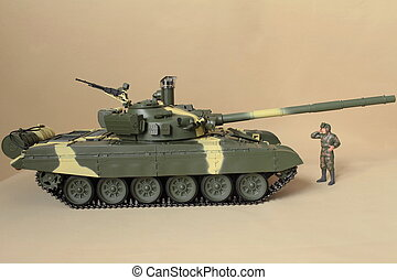 Soviet tank T-72 side view - figure commander It stands at...