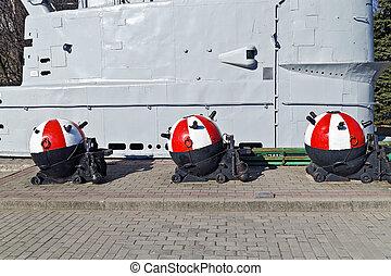 Soviet underwater anchor mines. Kaliningrad
