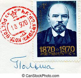 SOVIET UNION - CIRCA 1970: Lenin on Russian vintage stamp, ...