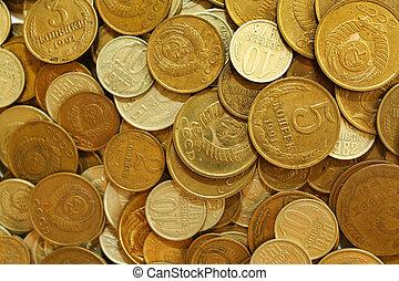 Soviet union coins background. Metal money of USSR.