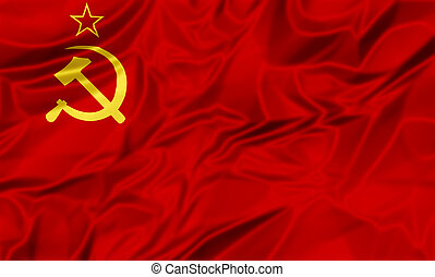 Soviet Union Flag - 3D illustration of Flag of the old...