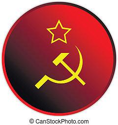 Soviet union flag icon or button .