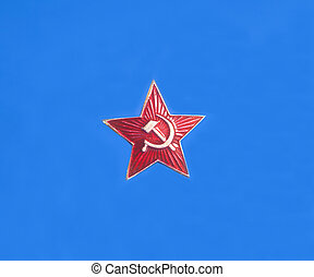 Soviet (ussr) star on blue background