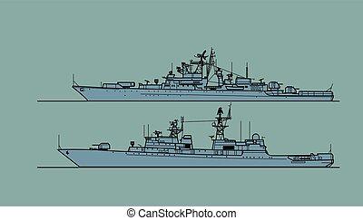 sovjet, escorte, ships., navy., koude oorlog