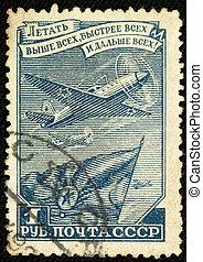 sovjet, ouderwetse , postzegel, (1948)