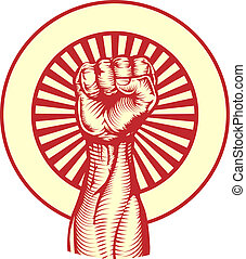 sovjet, propaganda, poster, stijl, fist