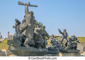 sovjet, tijdperk, ww2, gedenkteken, in, kiev, oekraïne