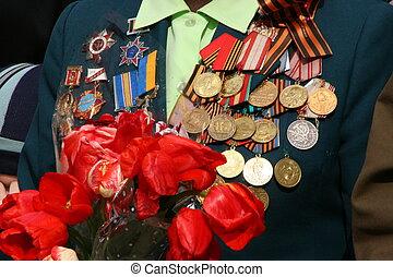 sovjet, ww2, militair, prijzen, op, veteraan, borst