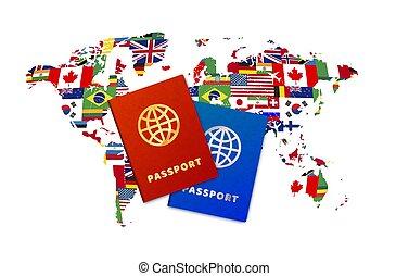 sovrano, luminoso, passaporti, mappa, bianco, bandiere, coppia, mondo, fondo, stati