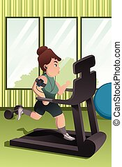 sovrappeso, persona correndo, su, uno, routine, in, uno, palestra