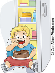 sovrappeso, ragazzo, mangiare