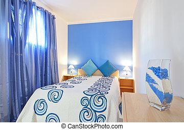 sovrum, liten, decoration., blue.
