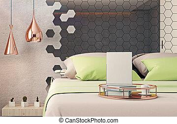 sovrum, med, tom, affisch