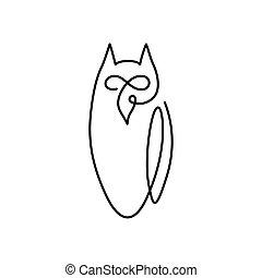 sowa, ciągły, owl., ptak, wektor, projektować, logo, kreskówka