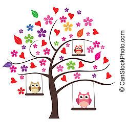 sowa, drzewo