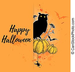 sowa, halloween, karta, dynia
