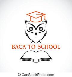 sowa, wizerunek, wektor, kolegium, kapelusz, książka