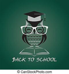 sowa, wizerunek, wektor, kolegium, kapelusz, książka, ...
