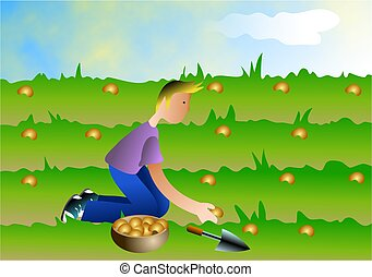 Boy sowing seeds