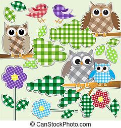 sowy, i, ptaszki, w, las