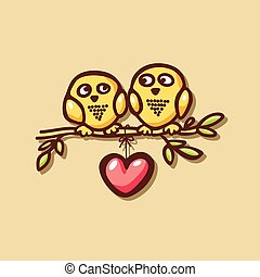 sowy, miłość, gałąź, upadek