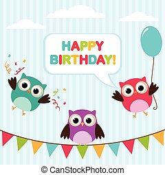 sowy, urodzinowa karta, wektor