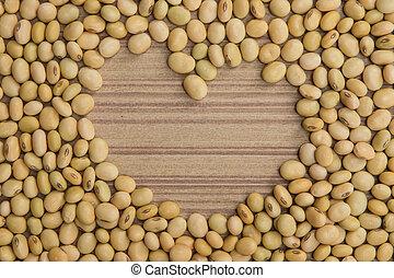 soy bean arange in heart shape