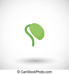Soy bean sprout flat vector icon