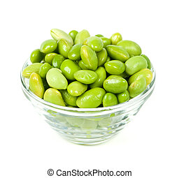 Soy beans - Edamame soy beans shelled in glass bowl