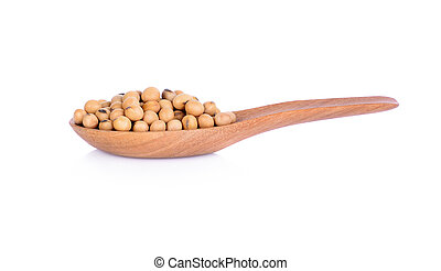 Soy beans in wooden spoon on white background.