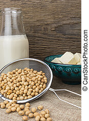 Soy milk, tofu, and soybeans, on wooden background