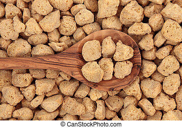 Soy Protein Chunks - Soy protein chunks in an olive wood...