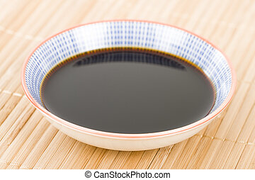Soy Sauce - Close up of a small bowl of asian dipping sauce.